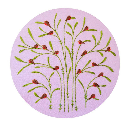 spring : robins pre-printed fabric embroidery pattern