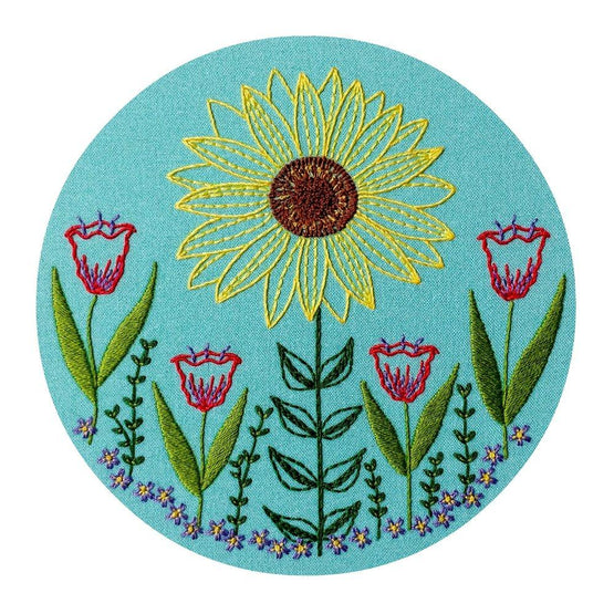 summer garden pre-printed fabric embroidery pattern