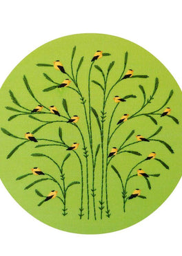summer : goldfinches pre-printed fabric embroidery pattern