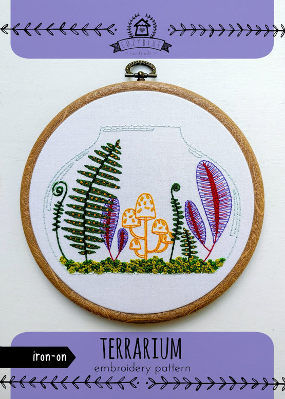 terrarium iron-on embroidery pattern