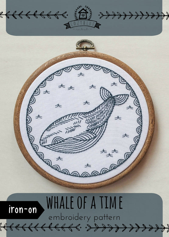 whale of a time iron-on embroidery pattern