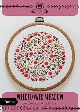 wildflower meadow iron-on embroidery pattern