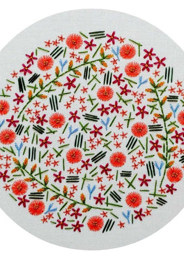 wildflower meadow pre-printed fabric embroidery pattern