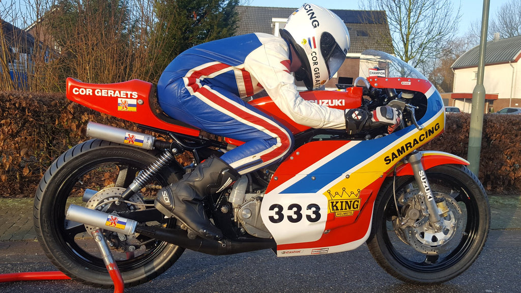 The spirit of Barry Sheene is strong with this one. Cor Geraets Suzuki TR750 custom build.