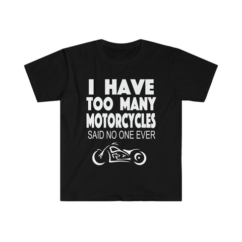 """TOO MANY MOTORCYCLES"" Men's Fitted Short Sleeve Tee"