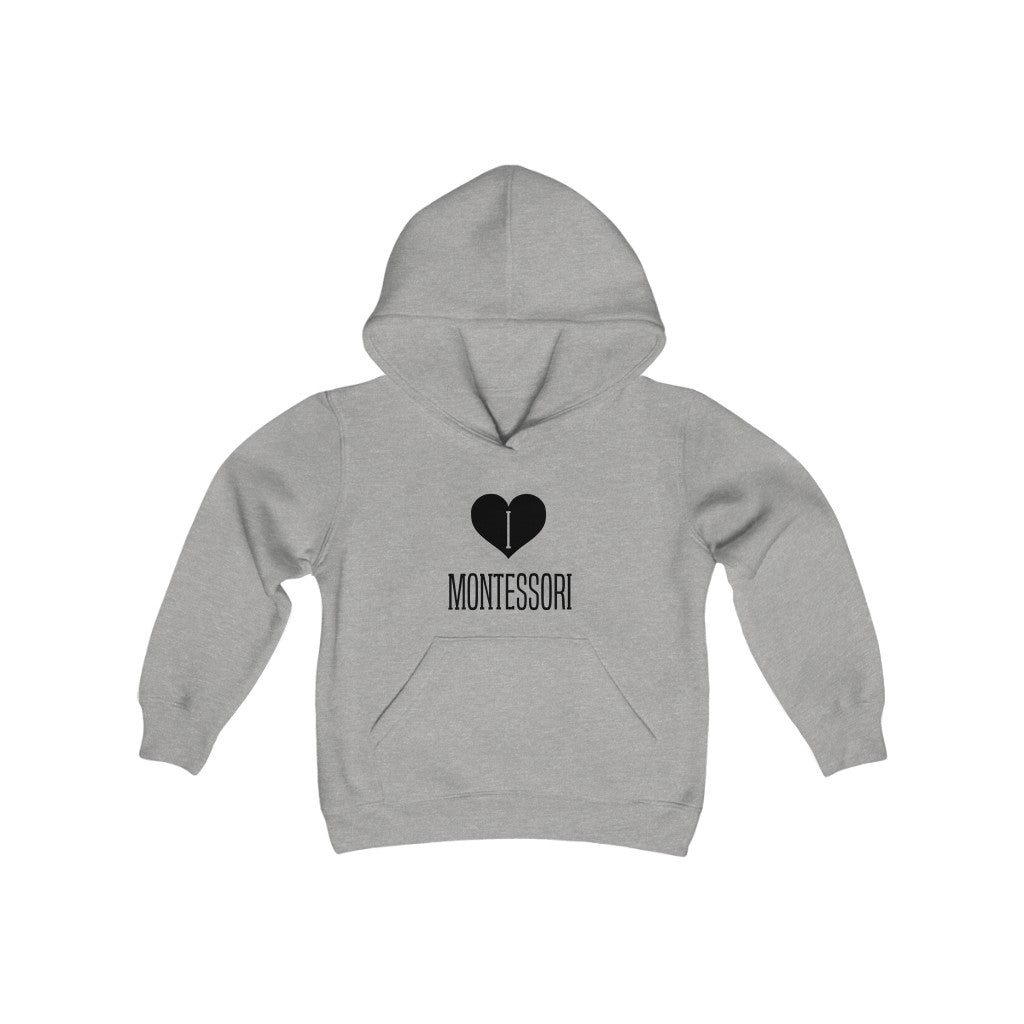 I Heart Montessori Youth Hooded Sweatshirt