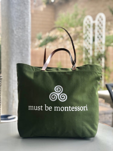 Must Be Montessori Large Green Tote