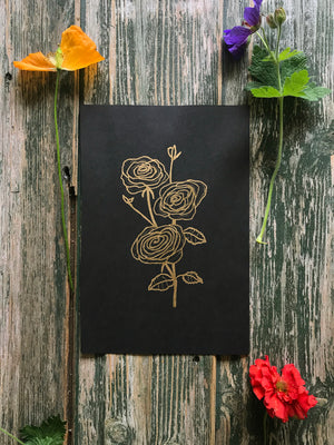 Rose ~ Metallic Ink Drawing