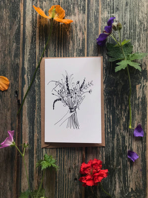 Black Ink Bouquet ~ Greeting Card