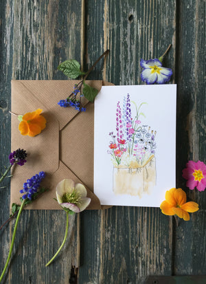 Flowery Garden Patch ~ Greeting Card