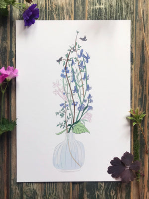 Blue Flower Tree Print
