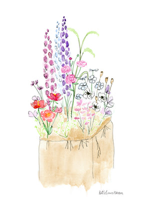 A watercolour print of a floral garden patch with peonies, delphinium, garden roses & poppy pods.