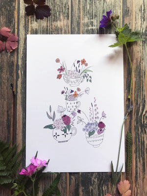 Flowers in the kitchen art print