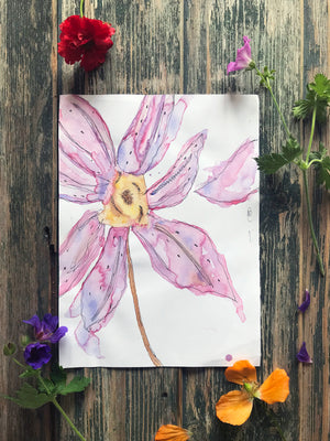 Purple Rain Flower~ Original Painting