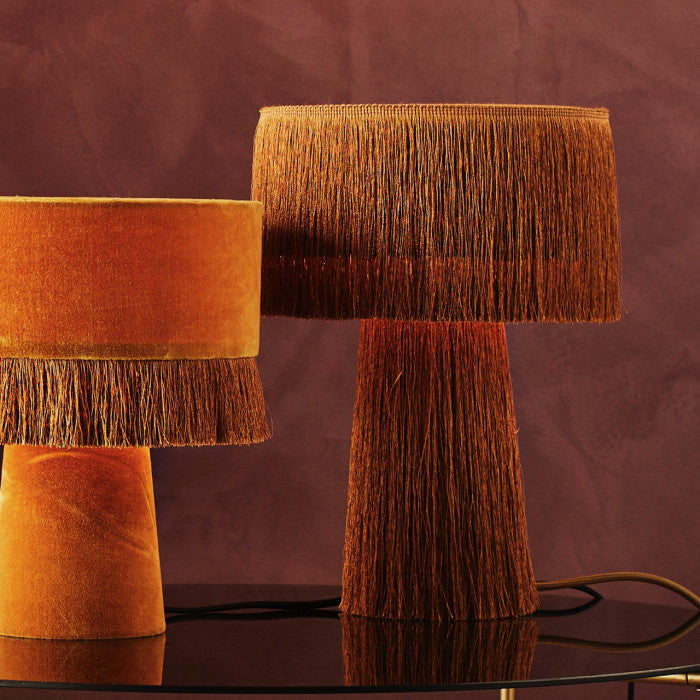 Fringed Velvet Mustard Table Lamp