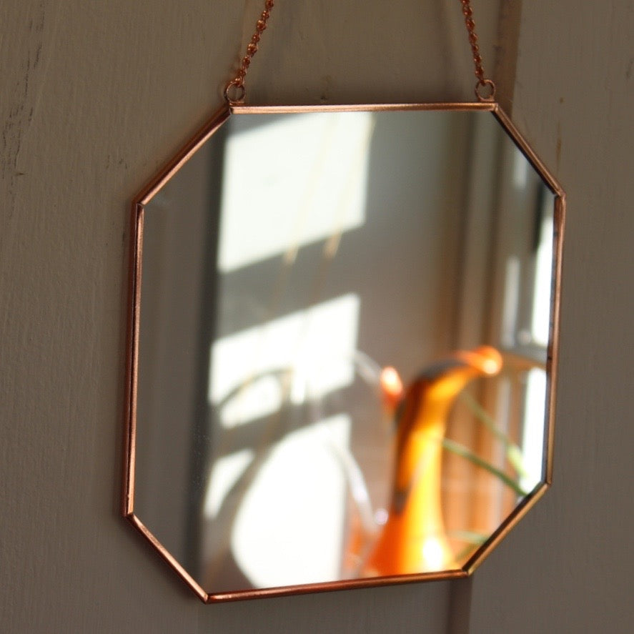 Octagonal Copper Mirror