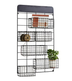 Metal Wall Unit with Baskets in Black Finish
