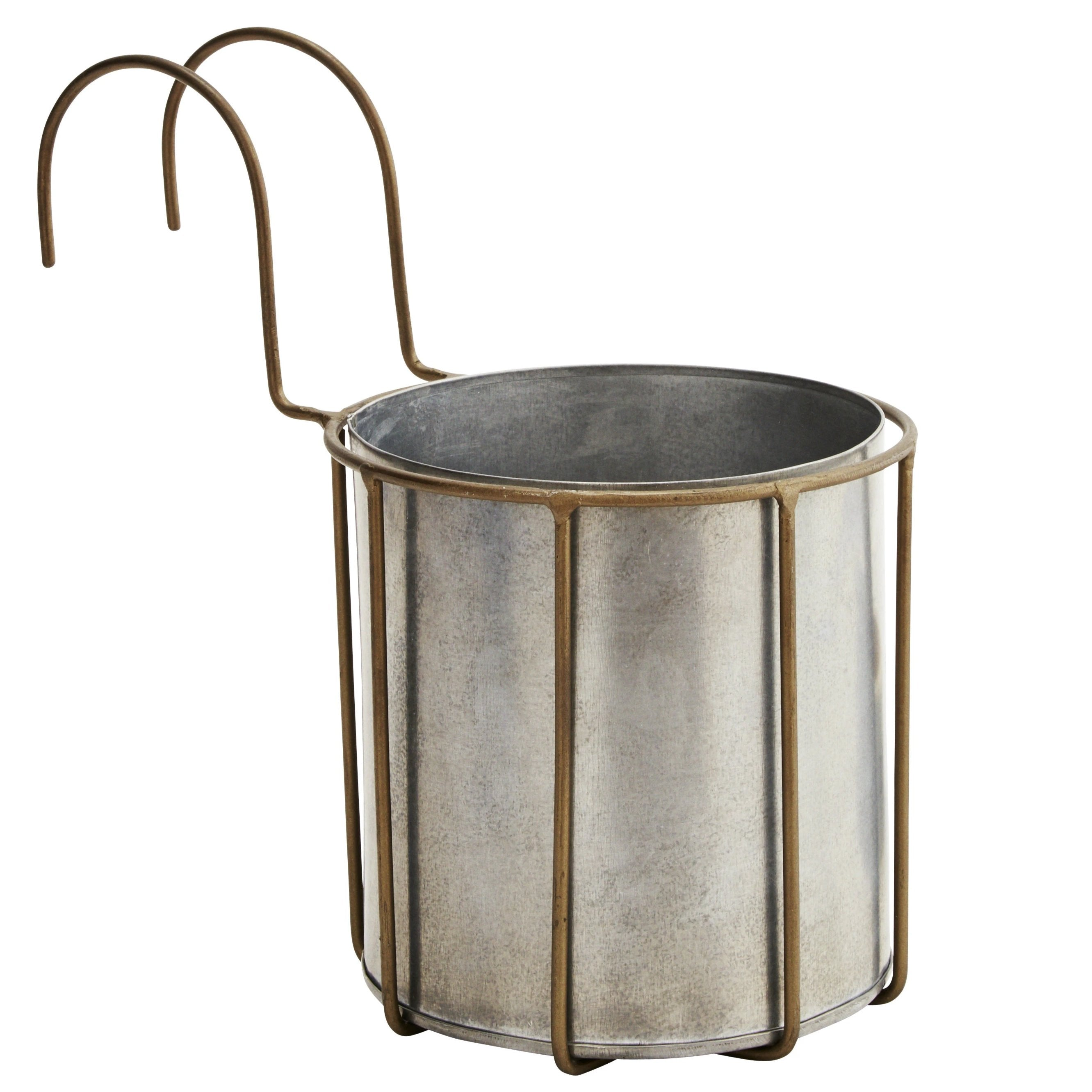 Zinc Planter Pot in Brass Hooked Holder