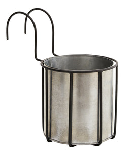 Zinc Planter Pot in Black Hooked Holder