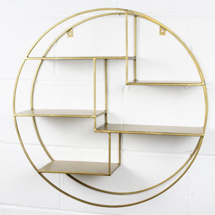 Circular Antique Brass Shelf