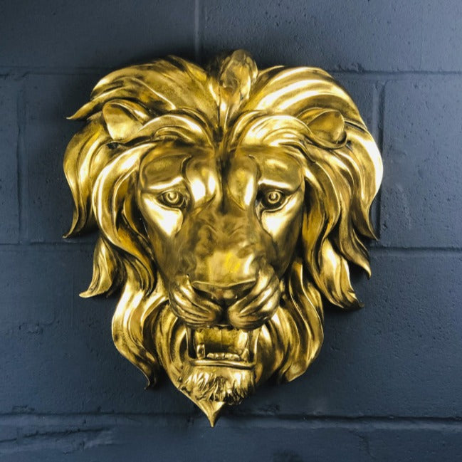 Gold Lion Head Wall Sculpture