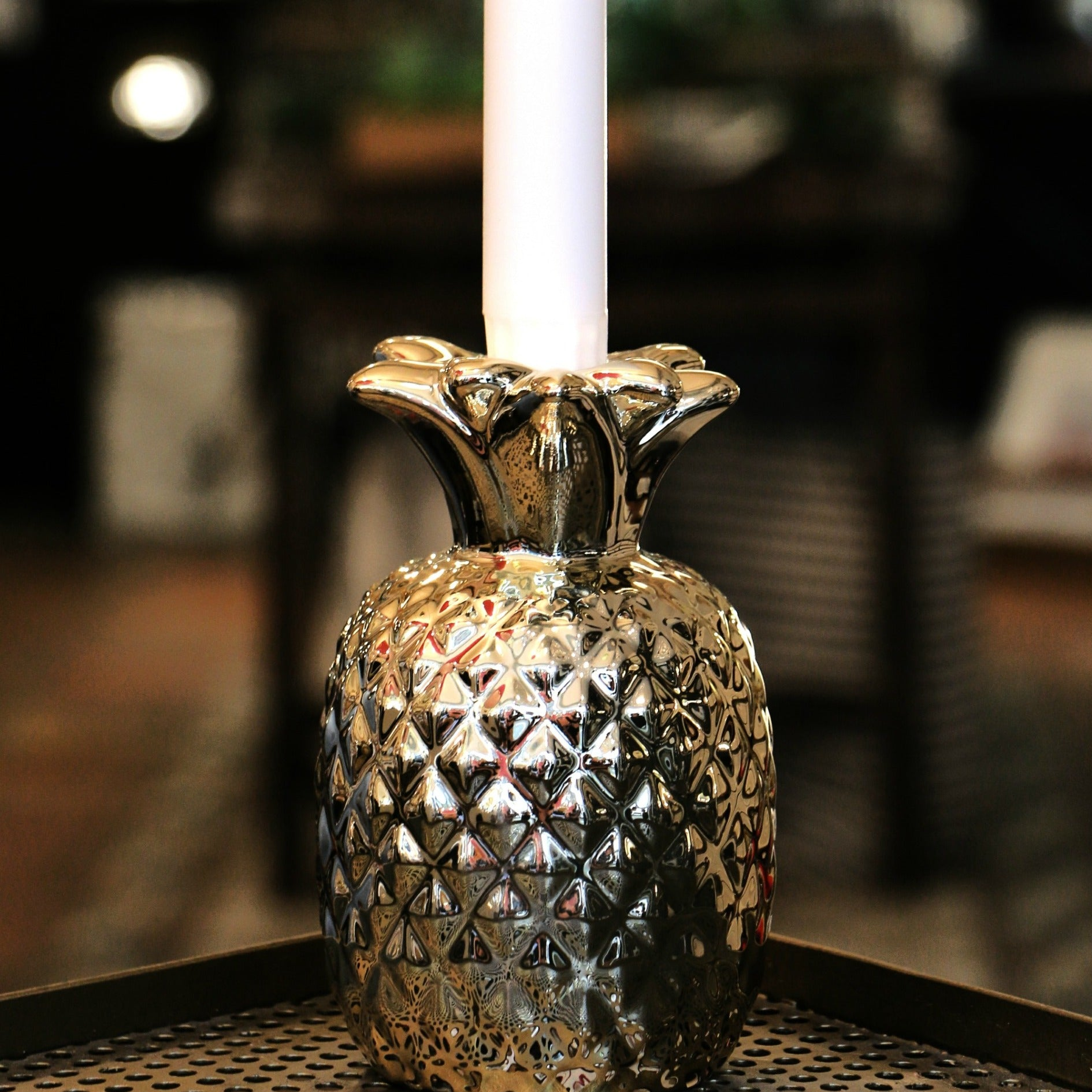 Gold Pineapple Candle Holder