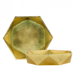 Geometry Brass Plated Bowl