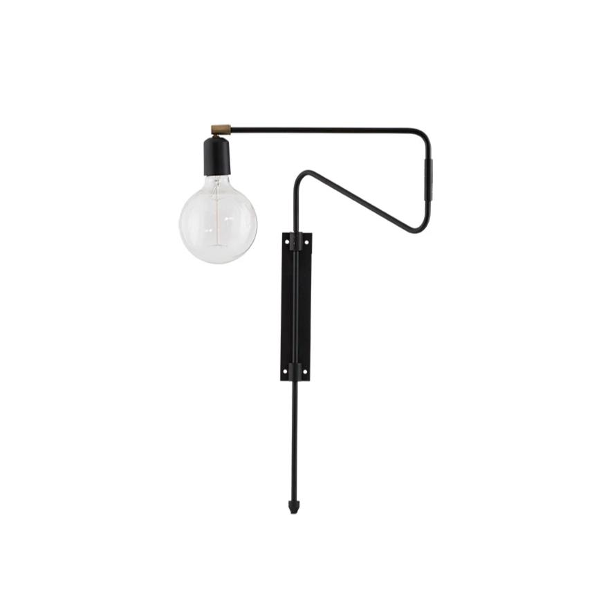 Black Short Swing Wall Lamp