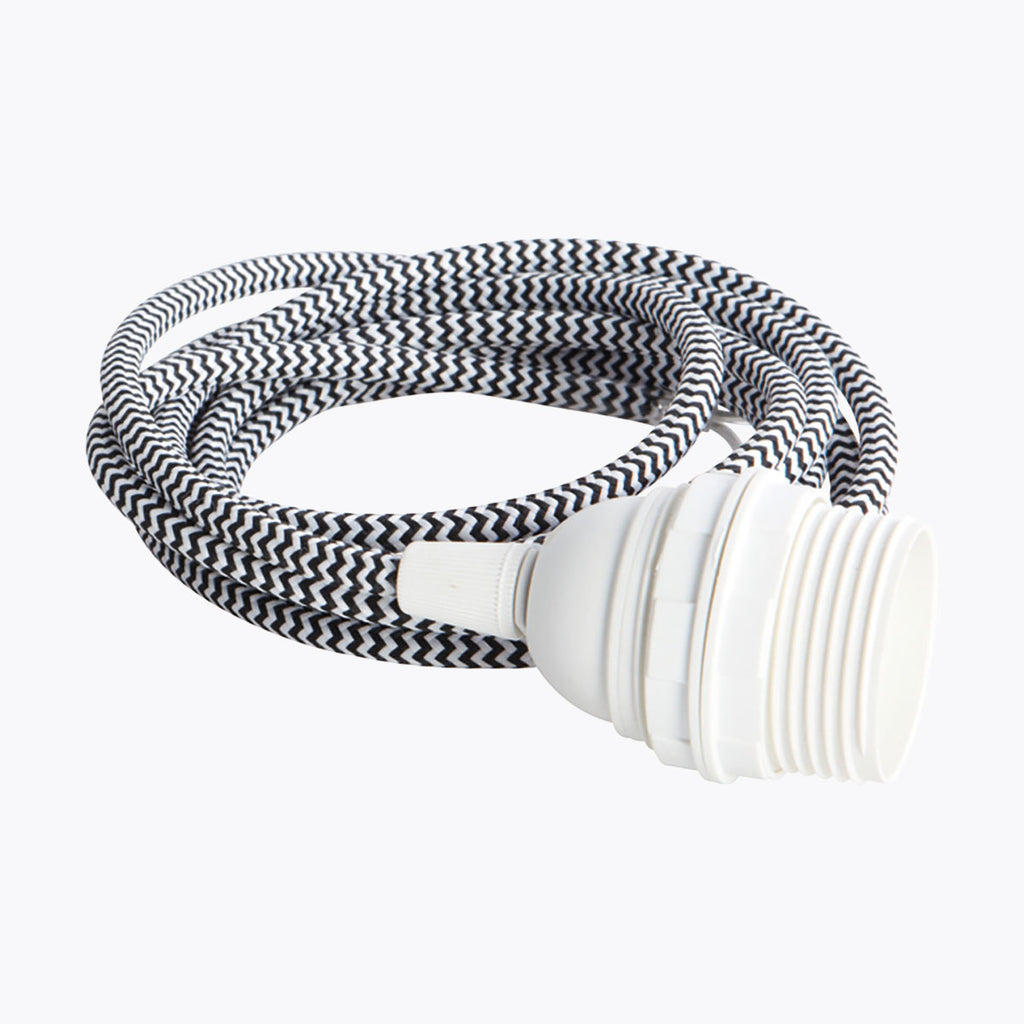 White & Black Fabric Cord Cable and Light Fitting