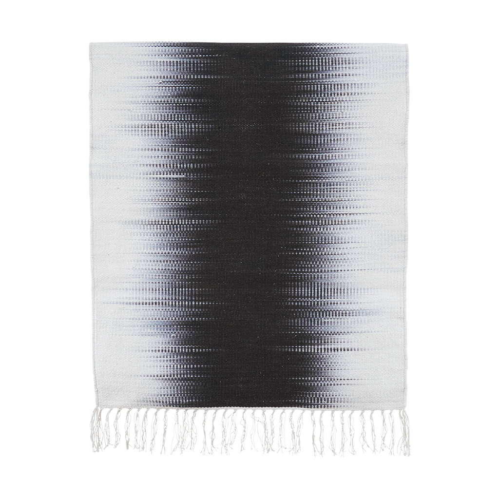 Electric White and Grey Cotton Rug