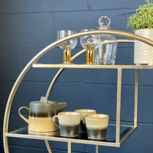 Silver Round Drinks Trolley