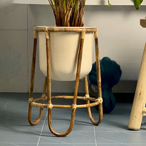 Plant Pot with Bamboo Stand