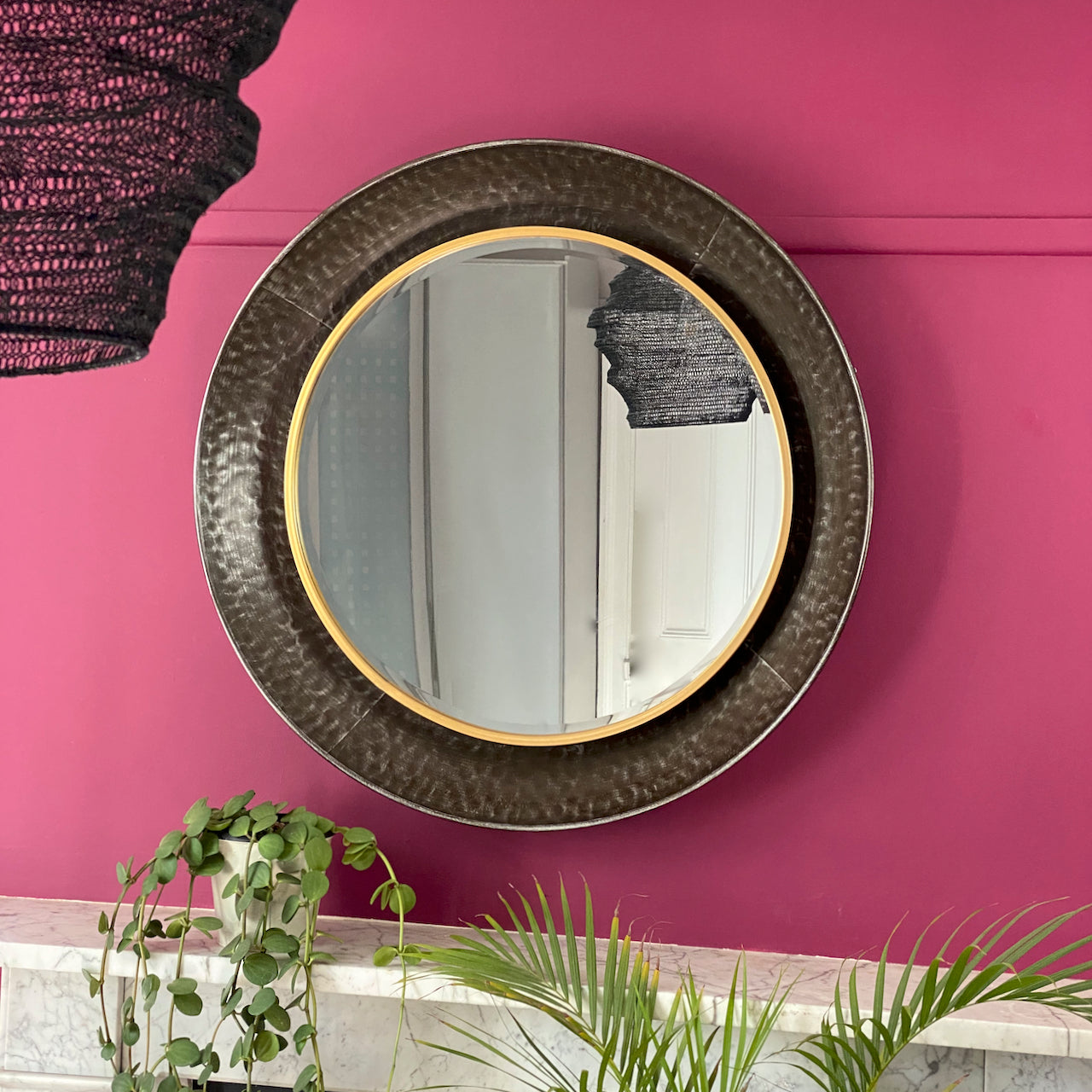 Industrial Steel Large Round Mirror