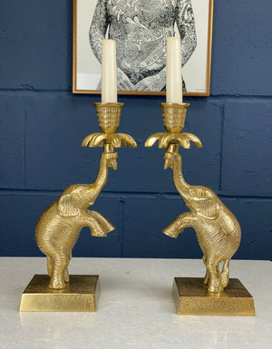 Antique Brass Elephant Candlestick