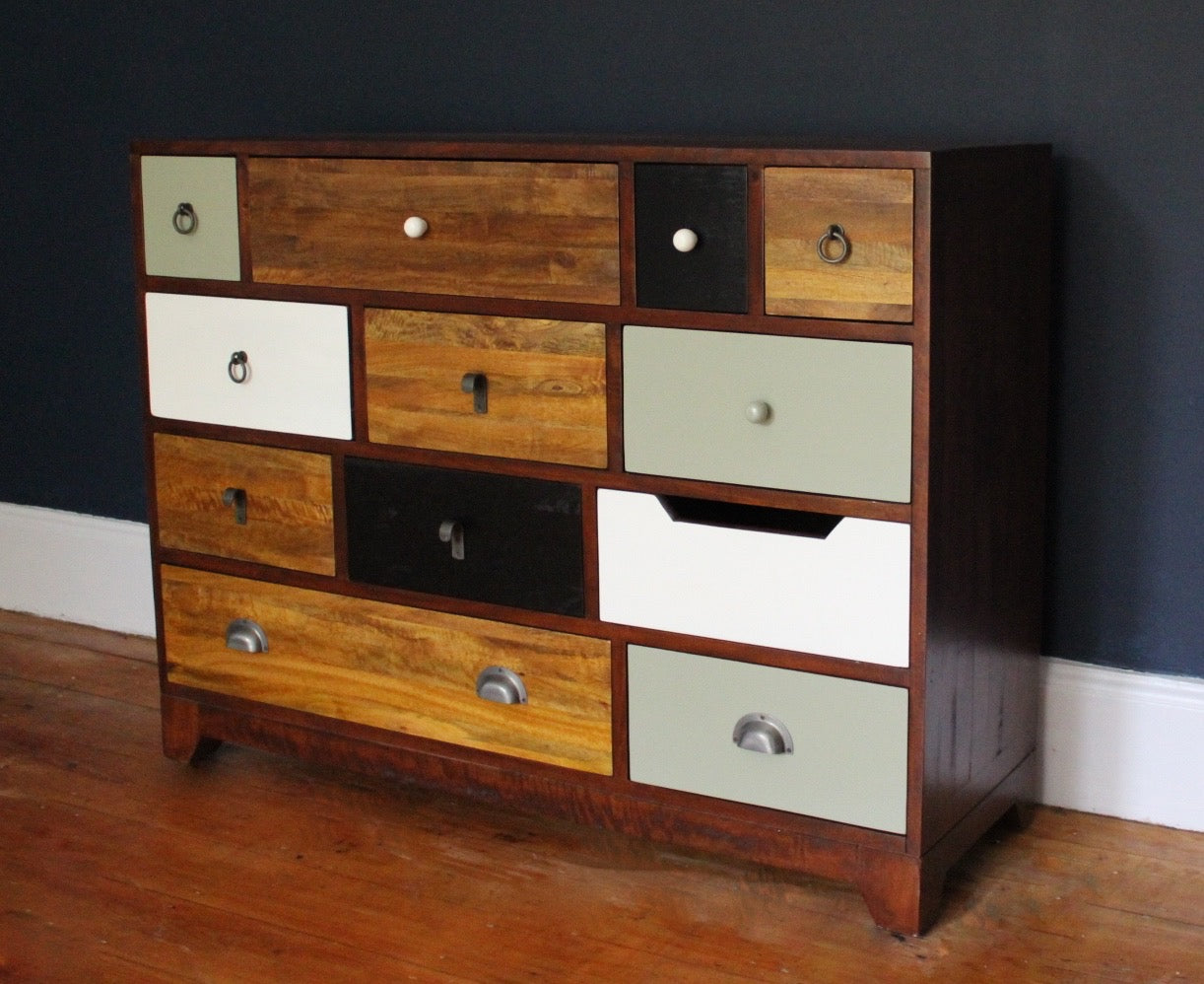 Camden Retro Style 12 Drawer Chest