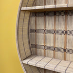 Oversized Round Patterned Bamboo Shelf