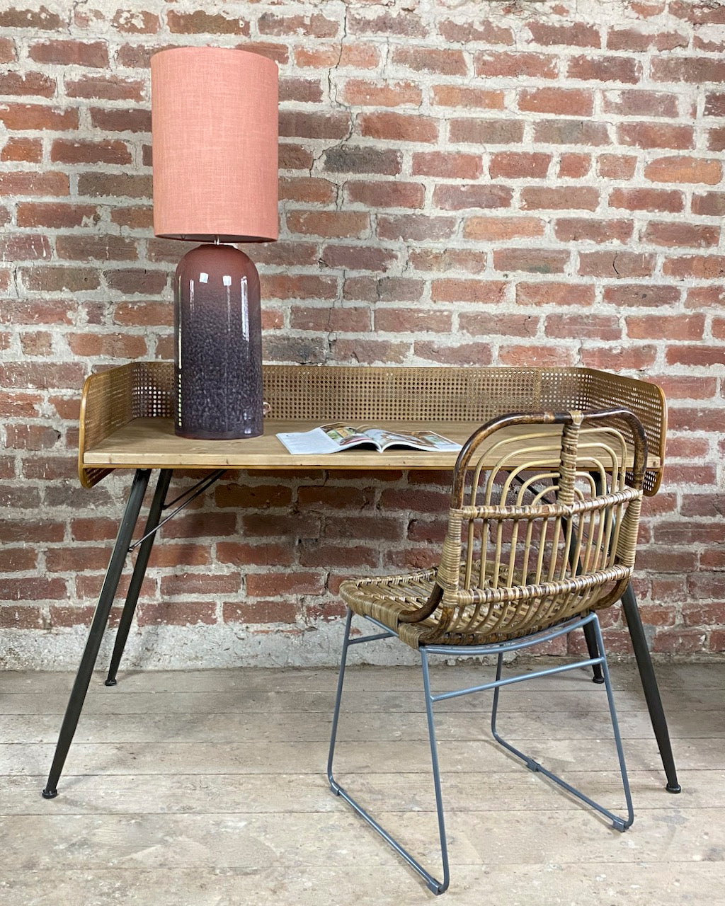 Industrial Desk with Cane Webbing