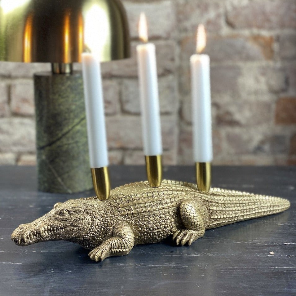 Gold Crocodile Candle Holder