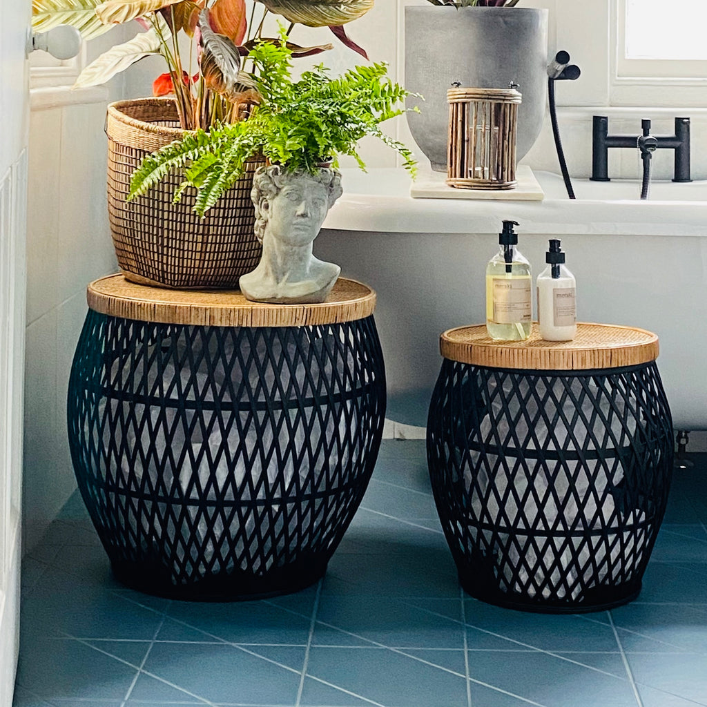 Black Rattan Side Tables