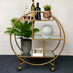 Gold Round Drinks Trolley