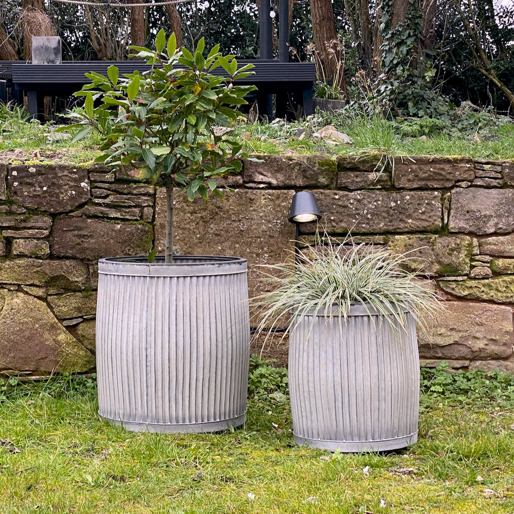 Round Galvanised Planters Set