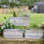 Oval Galvanised Planters Set
