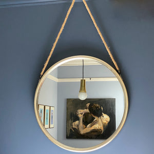 Large Round Silver Mirror On Rope