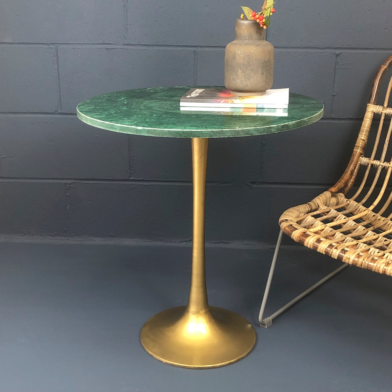 Brass Round Green Marble Table