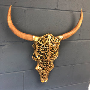 Wall Mounted Gold Bison Skull