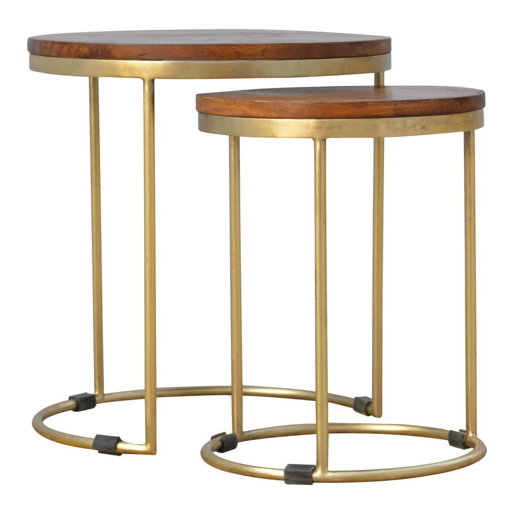 Round Nesting Tables with Gold Base