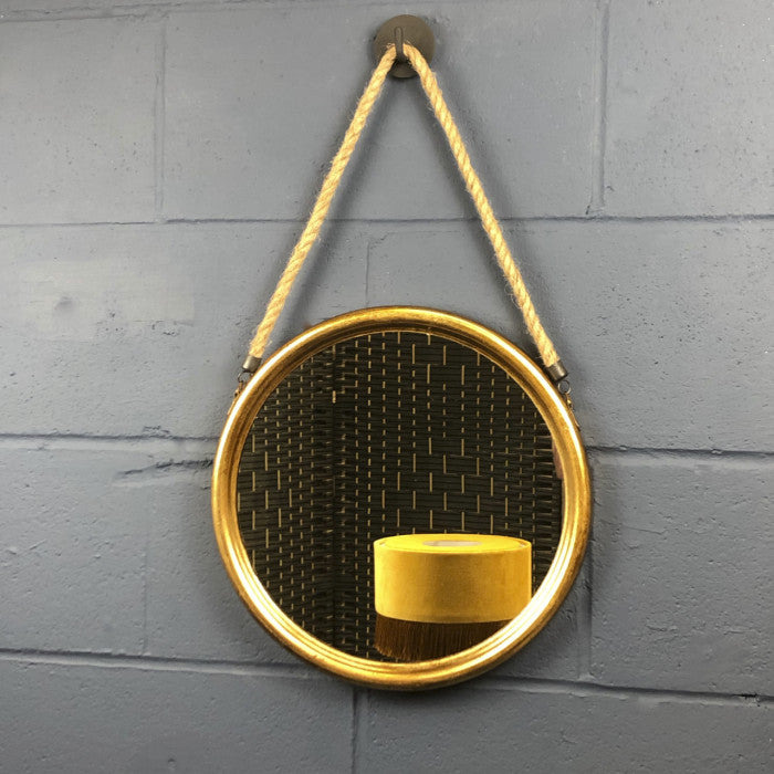 Gold Round Mirror On Rope