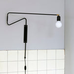 Black Long Swing Wall Lamp