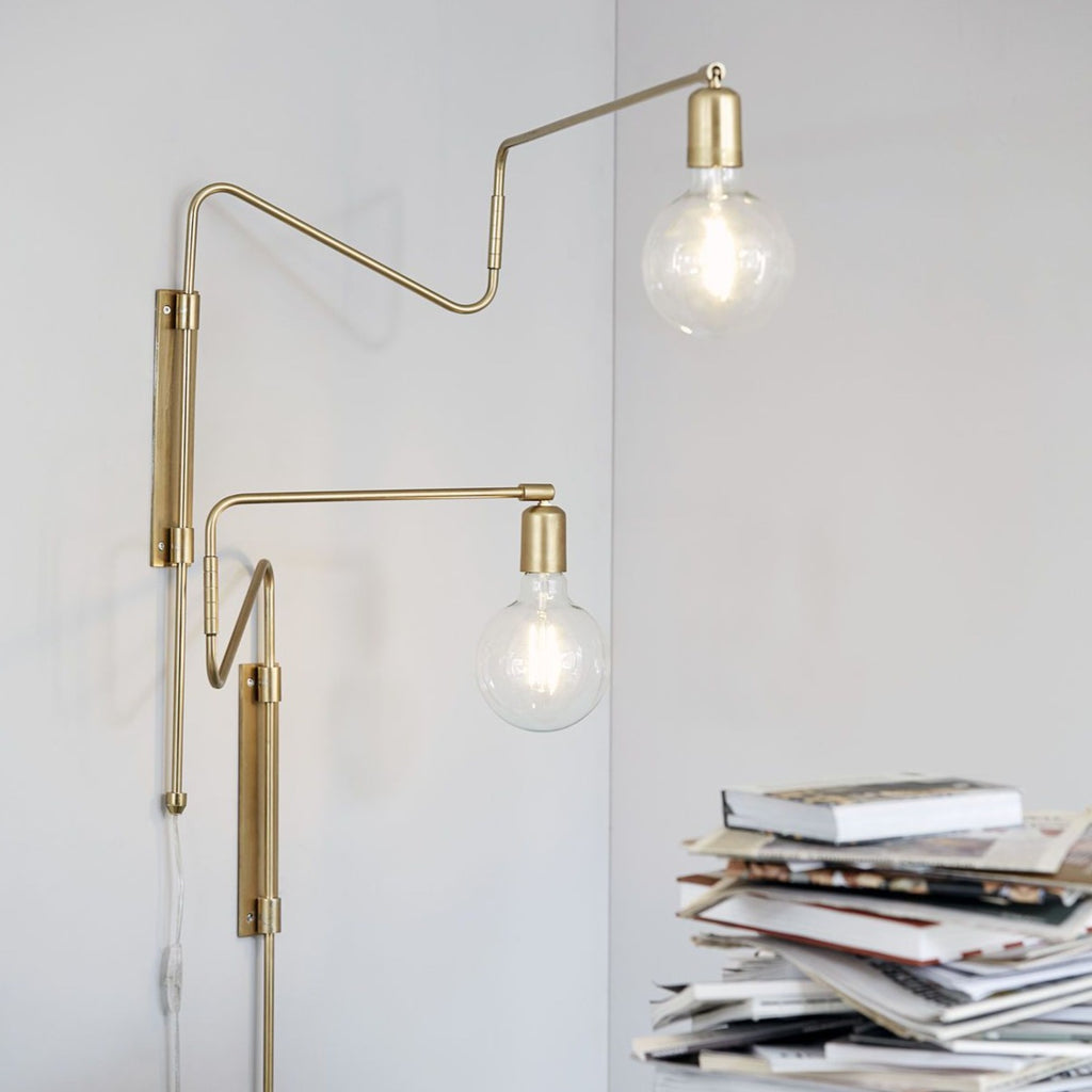 Brass Long Swing Wall Lamp