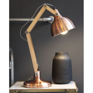 Copper Desk Lamp with Wooden Arms